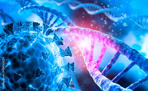 Fototapeta DNA helix with corona virus mutation - 3D visualization