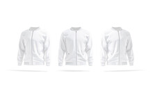 Blank White Bomber Jacket Mockup, Front And Side View