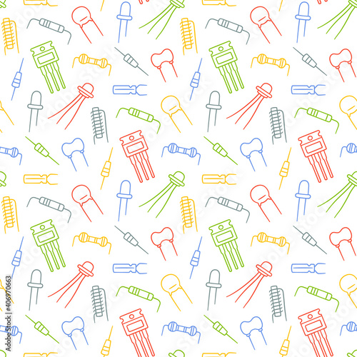 Seamless pattern from electrical components Wallpaper Mural