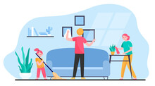 Happy Family Cleaning Apartment Flat Vector Illustration