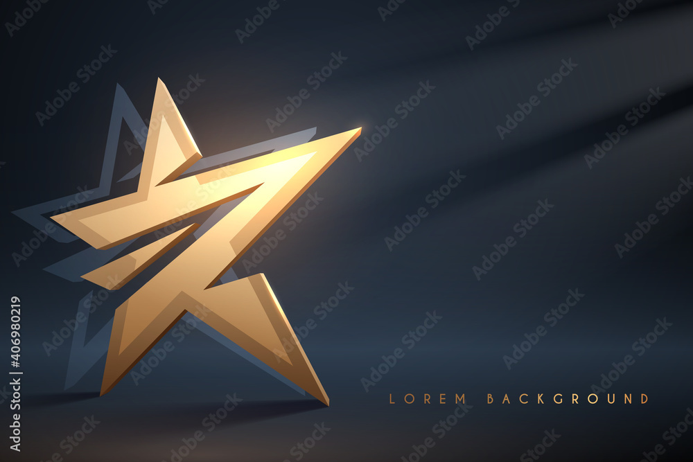 Fototapeta Golden star on dark background with light effect