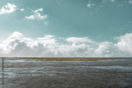 Fotografie, Obraz Coming tide in the salt marshes by Fedderwardersiel