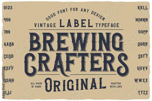 Carta da parati Vintage label font named Falange