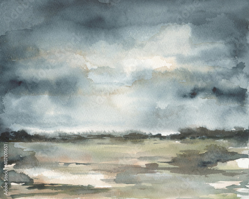Fotografie, Obraz Gray stormy sky watercolor landscape dark abstract background textured ink hand