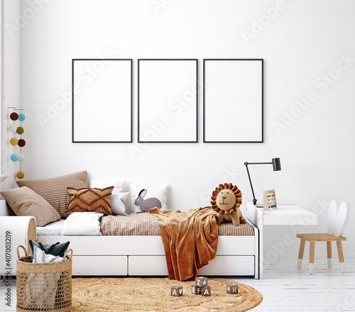 Photographie Mock up frame in white cozy children room interior background, Scandinavian styl