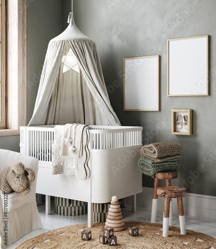 Obraz Mock up frame in cozy nursery interior background, Scandinavian style, 3D render - fototapety do salonu
