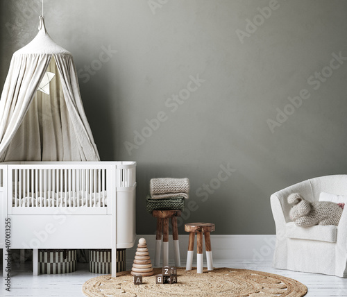 Canvas Print Cozy nursery interior background, Scandinavian style, 3D render