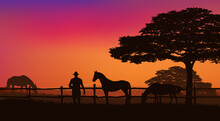 Cowboy And Horse Herd Behind Wooden Fence - Grazing Animals And Rancher At Sunset Field With Trees Vector Silhouette Landscape