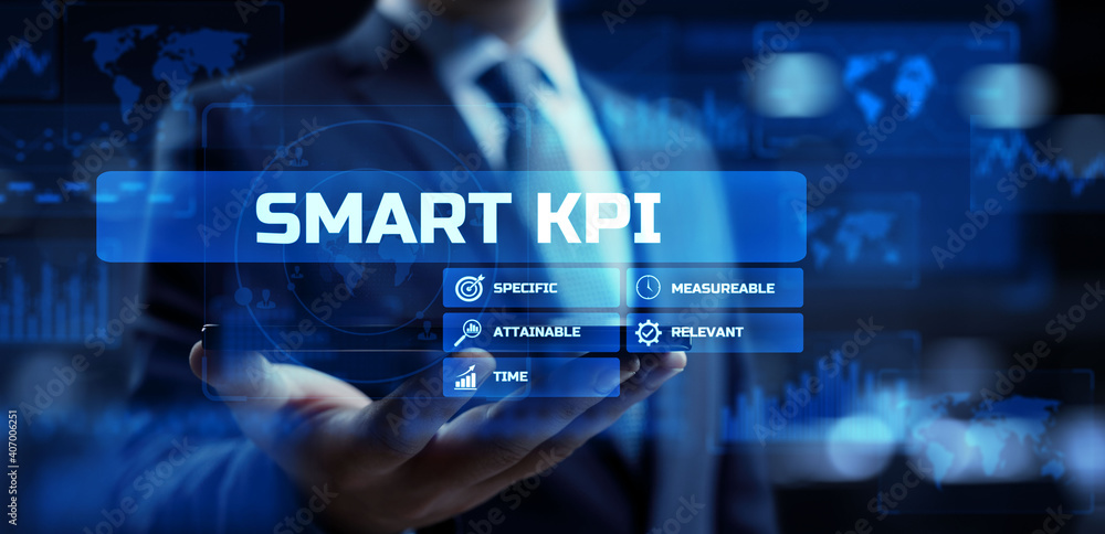 Fototapeta Smart KPI Key performance indicator business technology concept.