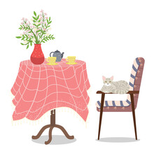 Round Table, Vase With A Bouquet Of Flowers, Coffee Cup And Saucer And A Gray Cat Sitting On The Chair. Vector Vintage Illustration Of Cozy Home Furniture. A Nice Table With A Colored Tablecloth