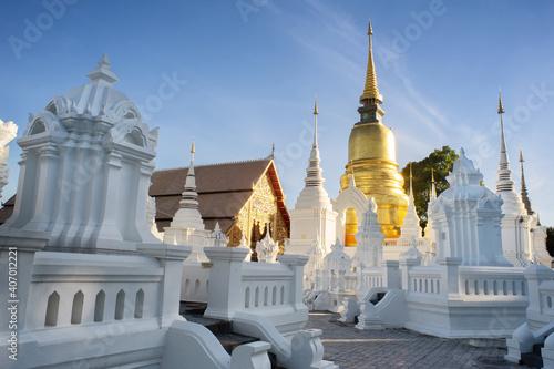 Fototapeta Ancient golden pagoda Wat Suan dok Temple,Chiangmai ,Thailand