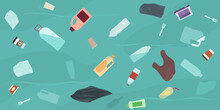 Ocean Pollution, Plastic Bottles And Trash  In Water. Top View. Ecology Problems Concept.  Flat Style, Vector Illustration.