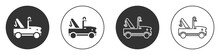 Black Tow Truck Icon Isolated On White Background. Circle Button. Vector.