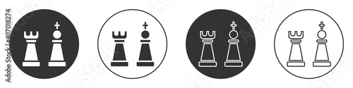 Stampa su Tela Black Chess icon isolated on white background