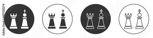 Billede på lærred Black Chess icon isolated on white background