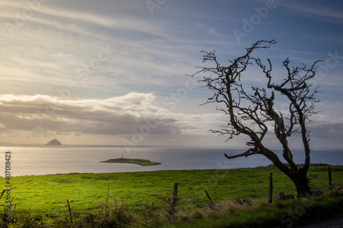 Foto view of Ailsa Craig and Plada from Arran