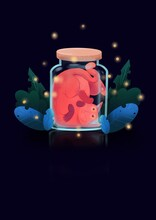 Mysterious, Mystical, Magical Illustration With A Ginger Cat Closed In A Bank And Watching The Fireflies