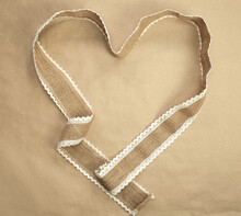 Flat Lay Design,natural Burlap Ribbon In Heart Shape And Craft Paper Background Texture, Romantic Nature Valentine Background, Copy Space, Valentines Day Concept