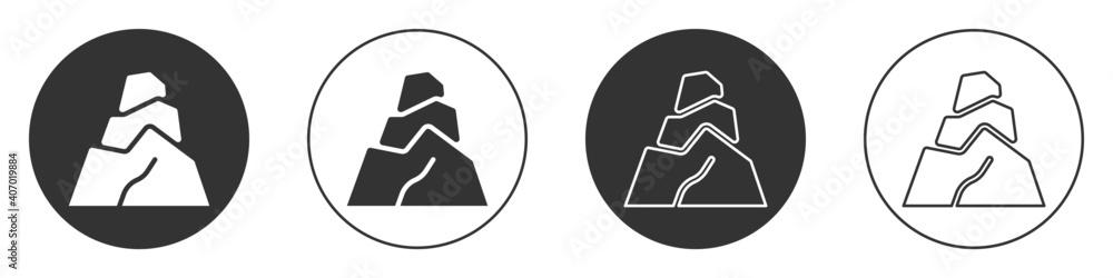 Fototapeta Black Rock stones icon isolated on white background. Circle button. Vector.