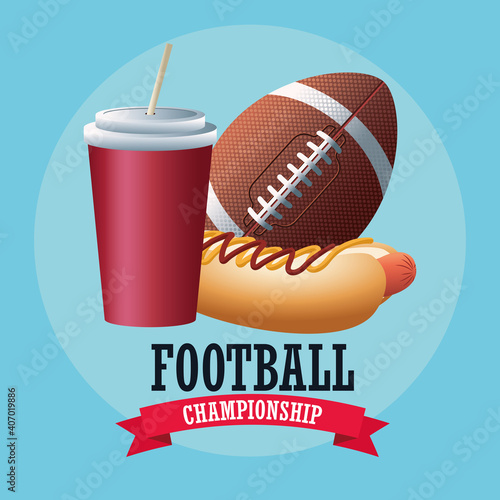 Obraz super bowl american football sport lettering with ball and fast food - fototapety do salonu