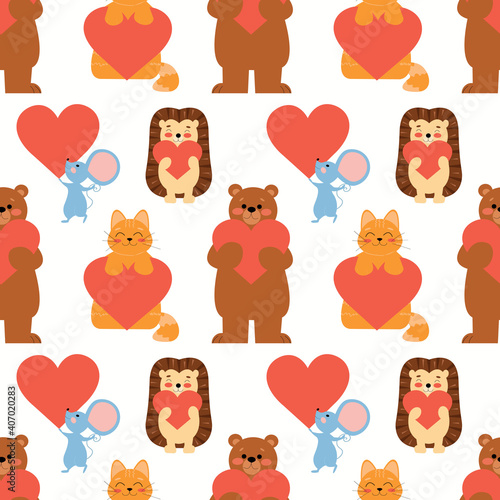 Seamless vector pattern with cute animals: hedgehog, bear, cat, mouse with on a white background. Endless ornament for Valentine's Day or children's theme.