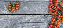 Orange Rosehip Berries On The Background Of A Wooden Surface. Space For The Text.