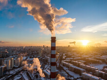 Winter City Landscape. Industrial Pipe With Smoke.