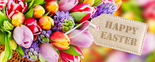 Springtime Flowers And Happy Easter Label