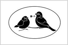 Postcard.-Sparrows.-Valentine.Congratulations. Postcard.Pattern.