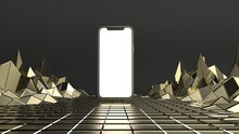 Smartphone Gold  Similar To IPhone 12 Pro Max Mockup With Blank White Screen On A Gold Polygonal  Background. 3D Render.