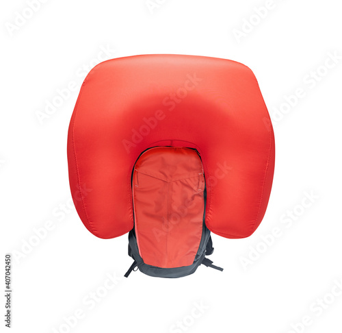 Foto Inflated avalanche airbag backpack isolated on white background