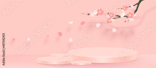 Obraz Abstract minimal scene with geometric forms. cylinder podium in pink background with pink sakura flower. product presentation, mockup, show product, podium, stage pedestal or platform. 3d vector - fototapety do salonu