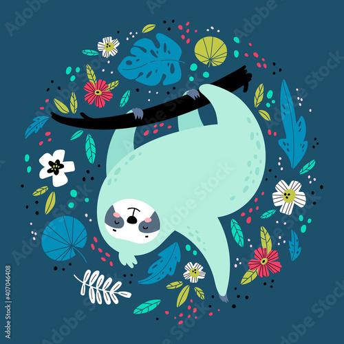 Fototapeta premium Cute cartoon sloth. Hand drawn vector illustration. Funny cartoon animal character. Exotic animal in tropical floral frame. Design for t shirt print, greeting card, poster, book cover, brochure, etc.