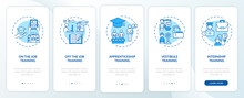 Staff Development Methods Onboarding Mobile App Page Screen With Concepts. On-the-job Training, Apprenticeship Walkthrough 5 Steps Graphic Instructions. UI Vector Template With RGB Color Illustrations
