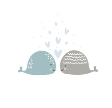 Romantic Greeting Card With Two Whales In Love. Card About Friendship With Hearts. Valentines Day Card, Poster Or Print Template. Vector Scandinavian Illustration Of Cute Loving Couple