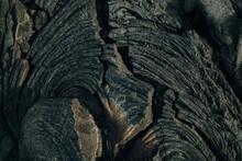 Frozen Lava From Kilauea Volcano In Hawaii Volcanoes National Park On The Big Island Of Hawaii.