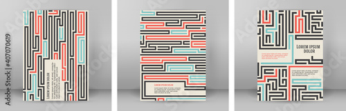 Fotografia Abstract vector background design with maze mosaic texture