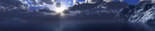 Sunset In The Arctic Ocean Among The Ice, The North Sea At Sunset, Snowy Shores, 3D Rendering