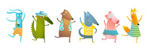 Baby Animals Dancing Cartoon, Funny Friends Wearing Clothes Having Fun. Funny Friends Bear Fox Rabbit Pig Wolf And Crocodile. Vector Graphics For Kids Events, Books Or Greeting Card Design.