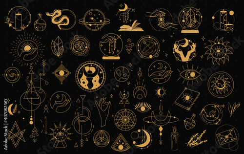Obraz na plátne Witch Magic, Mystical and Astrology objects symbols