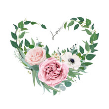 Vector Art Floral Heart Shape Watercolor Bouquet Illustration. Mauve Peach Pink Garden Roses, Anemone Flower, Tender Creamy Wax Flower, Eucalyptus Greenery, Leaves, Sage Green Herbs And Lovely Berries