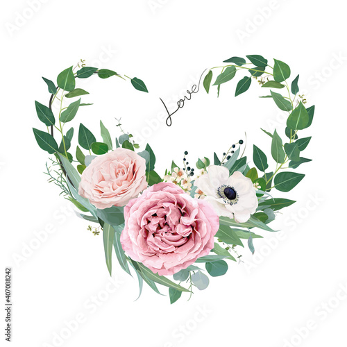 Canvas Vector art floral heart shape watercolor bouquet illustration