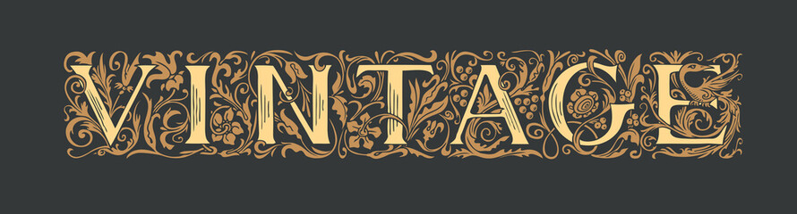 The inscription Vintage in the form of hand-drawn ornate letters in vintage style on a black background. Vector lettering stylish text. Suitable for t-shirt design, flyer, label, icon, card