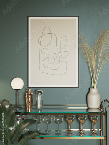 Obraz 3d render of a modern pale green with a mini bar trolley with glasses a minimal lines art frame and a vase with pampas grass - fototapety do salonu