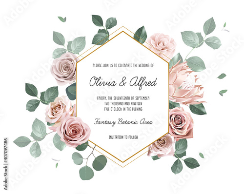 Eucalyptus and pale roses, protea, camellia vector design invitation frame Wallpaper Mural