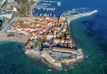 Aerial View Of Old Town Budva Montenegro.