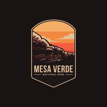Emblem Patch Logo Illustration Of Mesa Verde National Park On Dark Background
