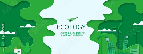 Fotografie, Obraz Paper art of Sustainability in green eco city, alternative, renewable  energy and ecology conservation concept