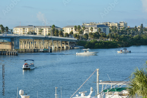 Boaters enjoying a calm morning on the waterway in St Petersburg / Clearwater in Wallpaper Mural