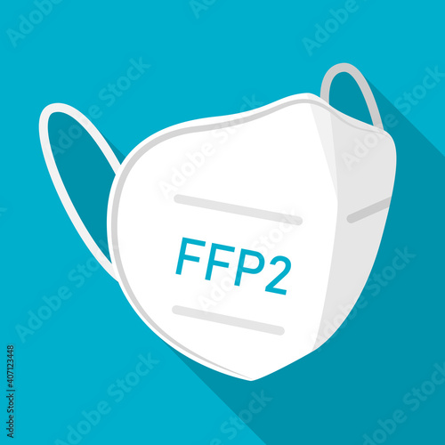 Canvas Print FFP2 face mask icon symbol sign flat design vector illustration